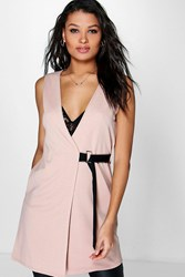 Boohoo Phoebe Belted Cross Front Sleeveless Duster Stone
