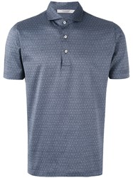 La Fileria For D'aniello Polka Dot Polo Shirt Men Cotton 54 Blue