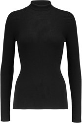 Giambattista Valli Ribbed Cashmere And Silk Blend Turtleneck Sweater Black
