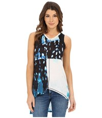 Calvin Klein Jeans Printed Mixed Media Halter Tunic Optical Blue Women's Sleeveless