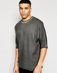 Asos Longline Oversized Sweatshirt With Kimono Sleeves In Oil Wash Grey