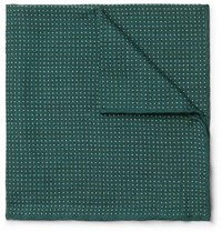 Anderson And Sheppard Pin Dot Wool Silk Blend Pocket Square Emerald