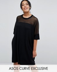 Asos Curve T Shirt Dress With Mesh Yoke Detail Black
