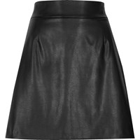 River Island Black Faux Leather High Waisted Mini Skirt