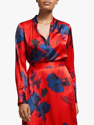 Winser London Floral Print Satin Blouse Red