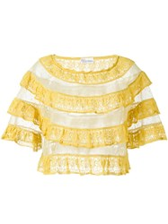 Red Valentino Ruffle Lace Top Yellow And Orange