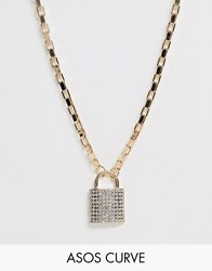 Asos Design Curve Necklace With Crystal Padlock Pendant And Hardware Chain In Gold Tone Gold