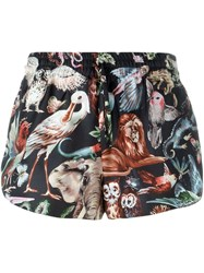 Valentino Animal Print Shorts Black