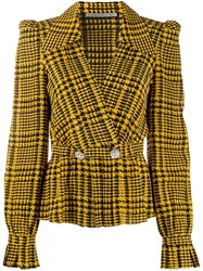 Alessandra Rich Crystal Embellished Houndstooth Blouse Yellow