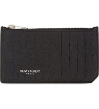 Saint Laurent Crocodile Embossed Leather Zipped Card Holder Black