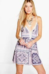 Boohoo Crochet Lace Trim Skater Dress Multi