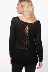 Boohoo Lace Up Back Slouchy Jumper Black