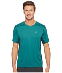 Arc'teryx Accelero Comp S S Planktonic Men's Short Sleeve Pullover Blue
