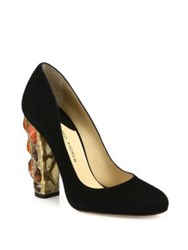 Paul Andrew Serkan Jeweled Heel Suede Pumps Black