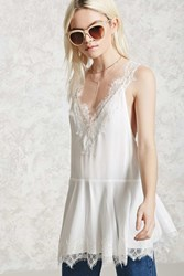 Forever 21 Crepe Eyelash Lace Tunic Cream