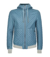 Dolce And Gabbana Nappa Leather Quilted Hooded Jacket Male Blue