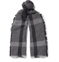 Begg And Co Beaufort Fringed Checked Wool Cashmere Blend Scarf Navy