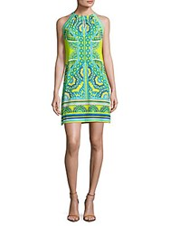 Hale Bob Printed Sleeveless Halterneck Dress Blue