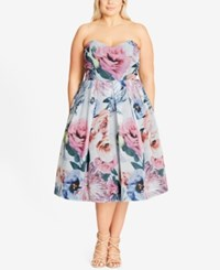 City Chic Trendy Plus Size Floral Fit And Flare Dress Ivory