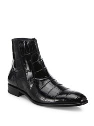 Mezlan Belucci Croc Embossed Leather Boots Black