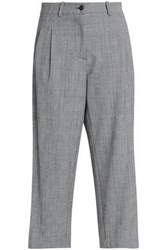 Stella Jean Cropped Velvet Trimmed Checked Straight Leg Pants Gray