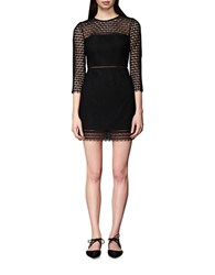 Cynthia Rowley Geometric Lace Shift Dress Black