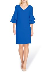 Tahari 'S Ruffle Sleeve Shift Dress Lapis