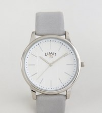 Limit Grey Leather Watch With Stripe Dial Exclusive To Asos Grey