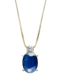 Macy's 14K Gold Necklace Sapphire 1 1 2 Ct. T.W. And Diamond Accent Oval Pendant