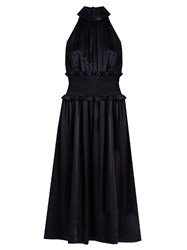Trademark High Neck Sleeveless Silk Charmeuse Dress Navy