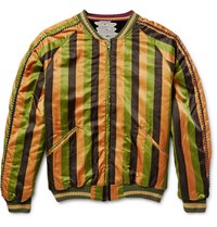 Kapital Reversible Striped Cotton Blend And Velvet Souvenir Jacket Green