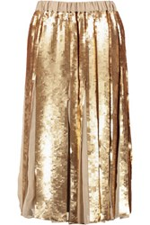 Tibi Eclair Pleated Sequined Silk Skirt Gold