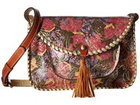 Patricia Nash Beaumont Flap Crossbody Metallic Paisley Handbags Brown