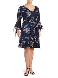 Alexia Admor Plus Floral Print Fit And Flare Dress Blue Floral