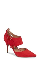 Linea Paolo Posh Pointy Toe Pump Red Suede