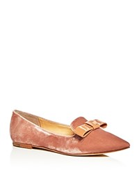 Ivanka Trump Lelle Velvet Pointed Toe Flats Pink Natural