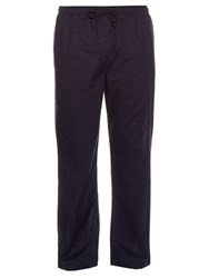 Derek Rose Micro Diamond Print Cotton Pyjama Trousers Navy Multi