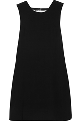Grace Mmxiii Annelot Faux Leather Trimmed Stretch Crepe Mini Dress