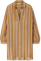 Mes Demoiselles Hawai Striped Silk Crepe Shirt Saffron
