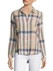 Bella Dahl Plaid Cotton Blend Shirt Pale Blush