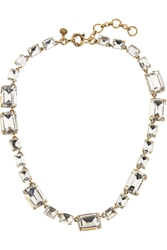 J.Crew Rectangle Gold Tone Crystal Necklace