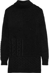 Simone Rocha Woman Paneled Alpaca Blend Turtleneck Sweater Black