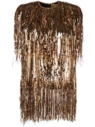 Msgm Fringed Sequinned Top Gold