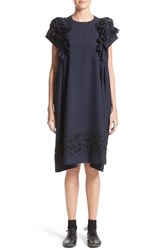 Comme Des Garcons Women's Tricot Floral Embroidered Wool Shift Dress