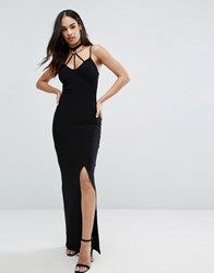 Club L Harness Detailed Extreme Split Maxi Dress Black
