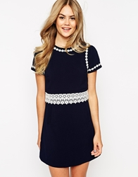 Dahlia Shift Dress With Contrast Lace Trims Navy