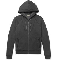 Bottega Veneta Intrecciato Leather Trimmed Cotton And Wool Blend Hoodie Gray