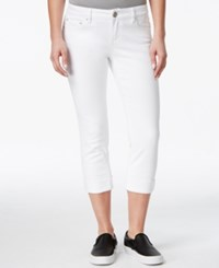 Indigo Rein Juniors' Second Skin Cropped Cuffed Jeans White