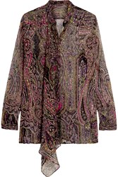 Etro Draped Paisley Print Devore Silk Blend Blouse Black