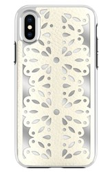 Rebecca Minkoff Luxury Calls Laser Lace Iphone X Case White Bianco Silver